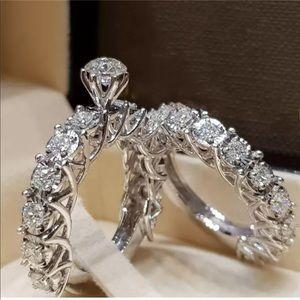 New 2 pc bridal wedding anniversary promise ring